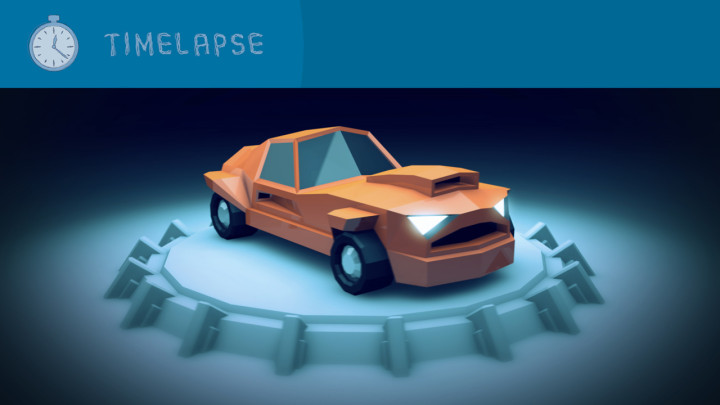 Timelapse – Low Poly Car turntable